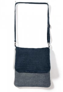 Denim crossbody foldover messenger bag