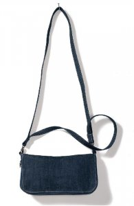 Denim foldover zipped clutch