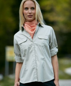 Twill Blouse with Roll-up-Sleeves