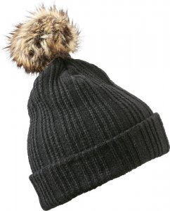 Beanie with Fake Fur Pompon
