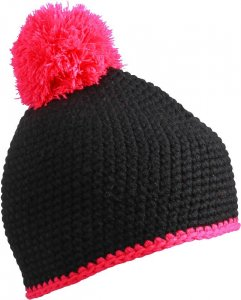 Crocheted hat with contrasting border and pompon