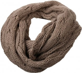 Knitted tube scarf with cable stitching