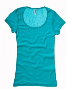 Ladies' Sheer Rib Scoop Neck T-Shirt