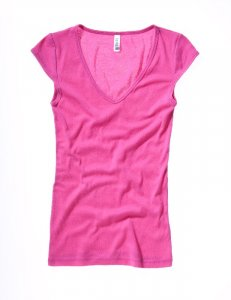Ladies' Sheer Rib V-Neck T-Shirt