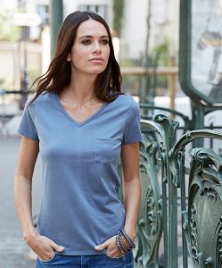 Ladies' V-Neck T-Shirt with Breast Pocket