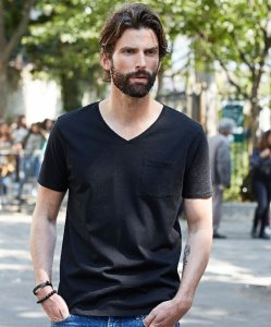 Men's V-Neck T-Shirt with Breast Pocket