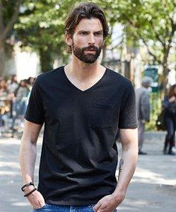 Men's V-Neck T-Shirt with Breast Pocket