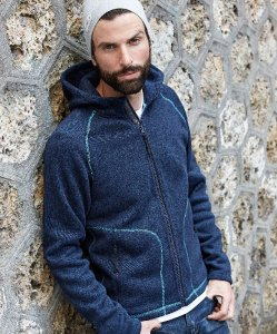 "Men's Hooded Knitted Fleece Jacket ""Aspen"""