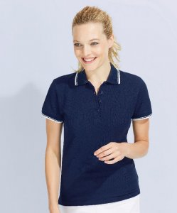 Ladies' Heavy Piqué Polo with Stripes