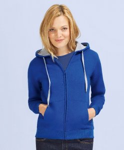 Ladies' Contrasted Hooded Sweat Jacket