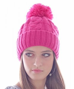 Raw Knitted Beanie with Pompon
